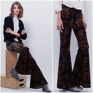 Free People Black Brown Maura Floral Velvet Pants